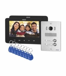 """Zestaw wideodomofonowy 2-rodzinny bezsłuchawkowy, kolor, LCD 7"""", z czytnikiem breloków zbliżeniowych, interkom, podtynkowy, IND"""