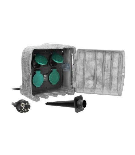 Gniazdo ogrodowe KAMIEŃ, 4x2P+Z (schuko), kabel gumowy H07RN-F 3x1,5mm², 3m, 2 tryby pracy: automatyczny (max.1100W)/ręczny (max