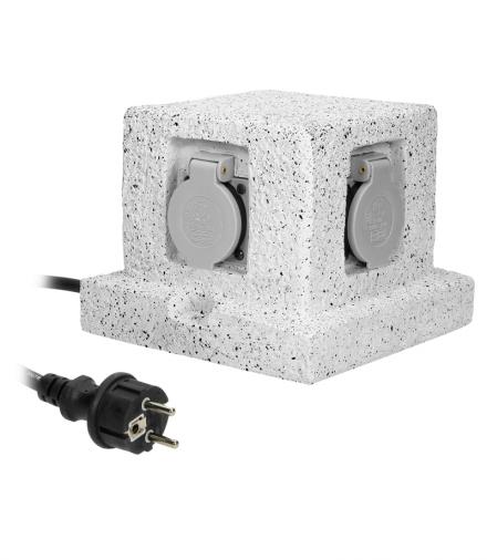 Gniazdo ogrodowe SŁUPEK, 4x2P+Z (schuko), kabel gumowy H07RN-F 3x1,5mm², 3m Orno OR-AE-13186(GS)