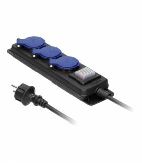 Przedłużacz warsztatowy bryzgoszczelny z wyłącznikiem IP44, 3 gniazda 2P+Z IP44, przewód gumowy, H05RR-F 3x1,5mm², długość 3m Or