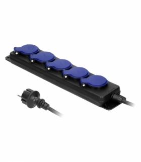Przedłużacz warsztatowy bryzgoszczelny IP44, 5 gniazd 2P+Z IP44, przewód gumowy, H05RR-F 3x1,5mm², długość 5m Orno OR-AE-13193/5