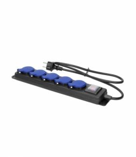Przedłużacz warsztatowy bryzgoszczelny z wyłącznikiem, 5 gniazd 2P+Z, IP44, przewód gumowy, H05RR-F 3x1,5mm², długość 5m Orno OR