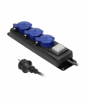 Przedłużacz warsztatowy bryzgoszczelny z wyłącznikiem IP44, 3 gniazda 2P+Z(Schuko) IP44, przewód gumowy, H05RR-F 3x1,5mm², dług
