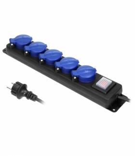Przedłużacz warsztatowy bryzgoszczelny z wyłącznikiem, 5 gniazd 2P+Z (schuko), IP44, przewód gumowy, H05RR-F 3x1,5mm², długość 5