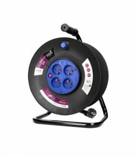 Przedłużacz bębnowy, 4 gniazda 2P+Z, kabel PVC H05VV-F 3x1,5mm², długość 50m, termik, przesłony torów prądowych. Orno OR-AE-1315