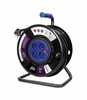 Przedłużacz bębnowy, 4 gniazda 2P+Z, kabel PVC H05VV-F 3x1,5mm², długość - 50m, STAŁE GNIAZDA, termik, przesłony torów prądowych