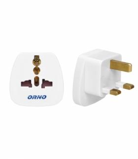 adapter podróżny - World to UK, 230VAC/13A, biały Orno OR-AE-13175