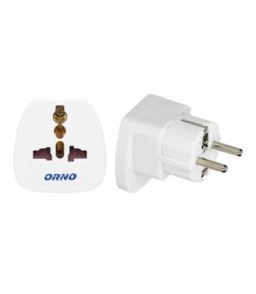 adapter podróżny - World to EU, 230VAC/10A, biały Orno OR-AE-13177