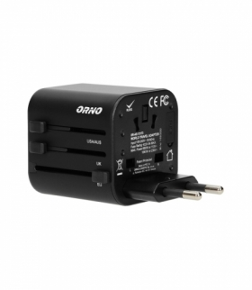 GOworld uniwersalny adapter podróżny do ponad 200 krajów świata, 100-240V, 8A Orno OR-AE-13173