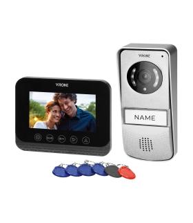 """Zestaw wideodomofonowy bezsłuchawkowy, kolor, 4,3"""" LCD, z czytnikiem breloków zbliżeniowych, czarny, ENIF RFID Orno VDP-62"""