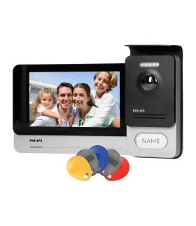 """Philips WelcomeEye Connect 2, Zestaw wideodomofonowy, bezsłuchawkowy, kolor, LCD 7"""", dotykowy, menu OSD, WI-FI + APP na telefon"""