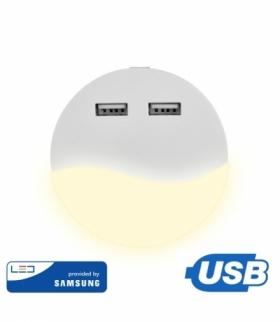 Lampka Nocna do Gniazdka LED z USB V-TAC SAMSUNG CHIP Okrągła VT-84 3000K 10lm