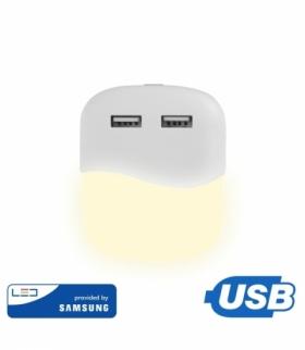 Lampka Nocna do Gniazdka LED z USB V-TAC SAMSUNG CHIP Kwadrat VT-84 3000K 10lm