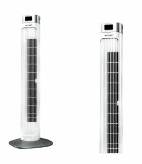 Wentylator Wieżowy kolumnowy V-TAC z wyświetlaczem temperatury i pilotem 55W 95cm Biały VT-5536