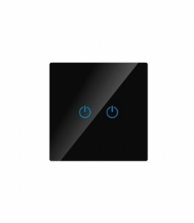 Włącznik Dotykowy Szklany Podwójny Czarny V-TAC VT-5112