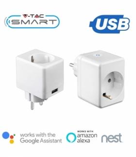 Gniazdo Adapter Przelotka z USB WiFi V-TAC Amazon Alexa, Google Home, Nest VT-5002