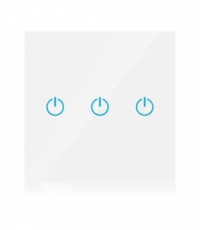 Włącznik Szklany WiFi V-TAC Potrójny Biały Amazon Alexa, Google Home, Nest VT-5005