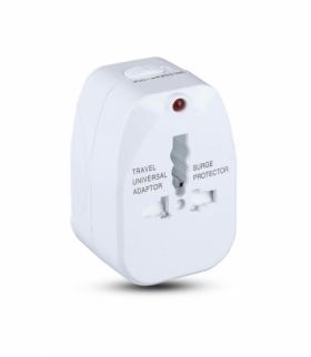 Uniwersalny adapter podróżny z zabezpieczeniem przeciwprzepięciowym