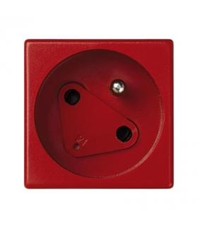 Gniazdo wtyczkowe pojedyncze K45 DATA z bolcem uziemiającym 16A 250V zaciski śrubowe 45×45mm czerwony KS02/6