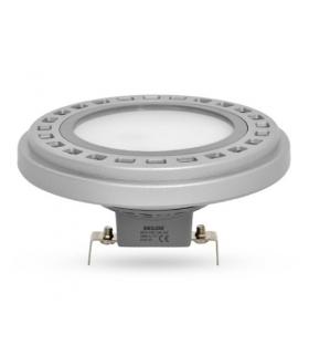 Żarówka AR111-LED, 12W, barwa światła neutralna biała, obudowa w kolorze srebrnym, klosz mleczny, kąt rozsyłu światła 120°