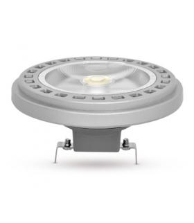 Żarówka AR111 LED G53 COB, 15W, barwa światła neutralna biała, obudowa w kolorze srebrnym, klosz przezroczysty