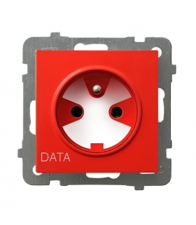 AS GP-1GZK/m/00 Gniazdo pojedyncze z uziemieniem DATA z kluczem uprawniającym, BIAŁY