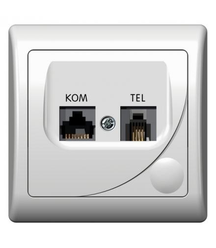 Efekt Gpkt F K 00 Gniazdo Komputerowo Telefoniczne Rj 45 Kat 5e 8 Stykowe Rj 11 6 Stykowe Biały E Domus