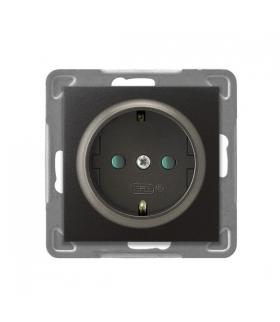 IMPRESJA GP-1YSP/m/50 Gniazdo pojedyncze z uziemieniem schuko z przesłonami torów prądowych, ANTRACYT