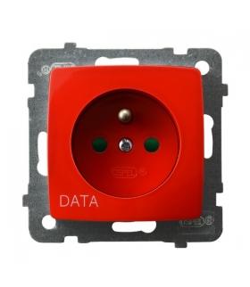 KARO GP-1SZDP/m/00 Gniazdo pojedyncze z uziemieniem DATA z przesłonami torów prądowych, BIAŁY