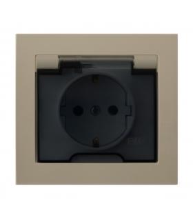 KIER GPH-1WS/01/d Gniazdo bryzgoszczelne z uziemieniem schuko IP-44 wieczko przezroczyste, BEŻOWY