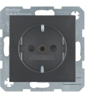 Gniazdo z uziemieniem SCHUKO z przesłonami styków z zaciskami śrubowymi antracyt mat