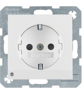 Gniazdo z uziemieniem SCHUKO z podświetleniem orientacyjnym LED bialy