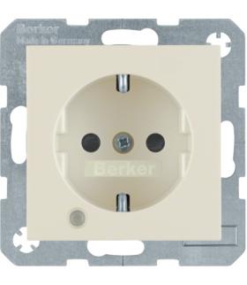 Gniazdo z uziemieniem SCHUKO z diodą kontrolną LED i polem opisowym krem