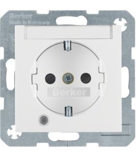 Gniazdo z uziemieniem SCHUKO z diodą kontrolną LED i polem opisowym biały