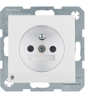 Gniazdo z uziemieniem z uziemieniem i podświetleniem orientacyjnym LED biały