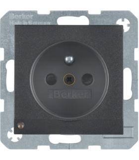Gniazdo z uziemieniem z uziemieniem i podświetleniem orientacyjnym LED antracyt mat