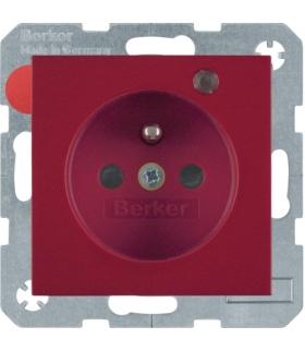 Gniazdo z uziemieniem i LED kontrolną z podwyższoną ochroną styków czerwony