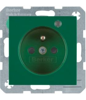 Gniazdo z uziemieniem i LED kontrolną z podwyższoną ochroną styków zielony