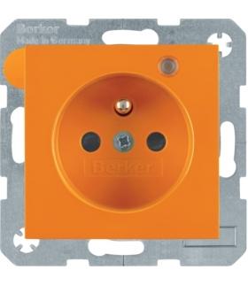 Gniazdo z uziemieniem i LED kontrolną z podwyższoną ochroną styków pomarańczowy