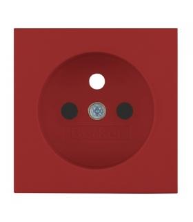 Płytka czołowa do gniazd z uziemieniem z przesłonami styków do obwodów specjalnych czerwona