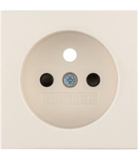 B.Kwadrat Płytka czołowa z przysłonami styków do gniazda z uziemieniem kremowy, połysk Berker 3965768992