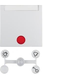 Klawisz z 5 dołączonymi soczewkami z polem opisowym do łączników 1-klawiszowych biały mat