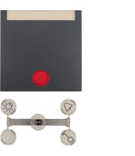 Klawisz z 5 dołączonymi soczewkami z polem opisowym do łączników 1-klawiszowych antracyt mat