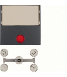 Klawisz z 5 dołączonymi soczewkami z dużym polem opisowym do łączników 1-klawiszowych antracyt mat