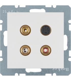 S.1/B.3/B.7 Gniazdo 3xCinch/S-Video, biały, mat Berker 3315321909