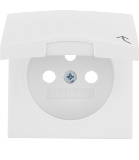 B.Kwadrat Płytka czołowa do gniazda z uziemieniem z pokrywą, biały, połysk Berker 3965898999