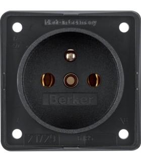 Integro Flow Gniazdo z uziemieniem, mechanizm, czarny, mat Berker 9618505