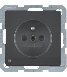 Q.x Gniazdo z uziemieniem i podświetleniem orientacyjnym LED, antracyt, aksamit lakierowany Berker 6765106086