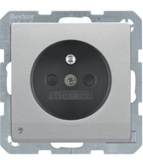 Q.x Gniazdo z uziemieniem i podświetleniem orientacyjnym LED, alu aksamit, lakierowany Berker 6765106084