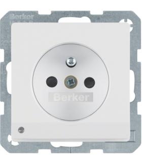 Q.x Gniazdo z uziemieniem i podświetleniem orientacyjnym LED, biały, aksamit Berker 6765106089